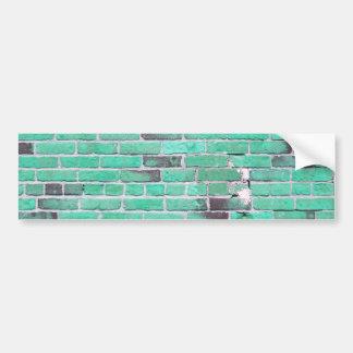 Aqua Vintage Brick Wall Texture Bumper Sticker