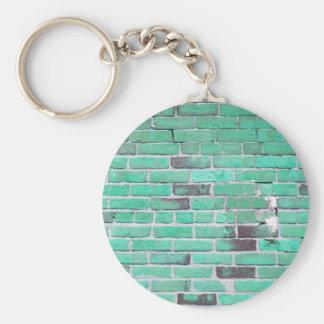 Aqua Vintage Brick Wall Texture Key Ring