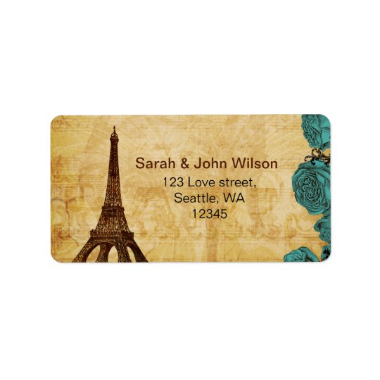 aqua vintage eiffel tower Paris address labels
