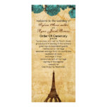 aqua vintage eiffel tower Paris wedding program Personalized Rack Card