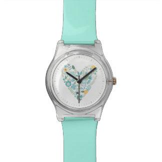 Aqua Vintage Floral Heart Watch