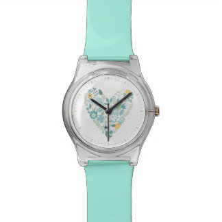 Aqua Vintage Floral Heart Wristwatches