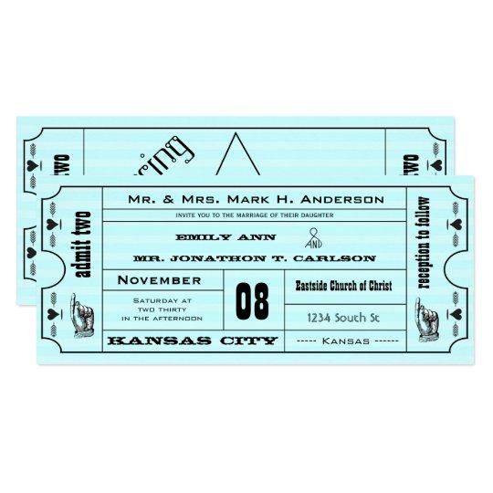 Aqua Vintage Modern Typography Ticket Wedding Card