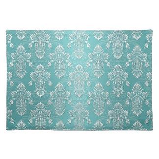 Aqua Vintage Teal Damask Pattern Placemat