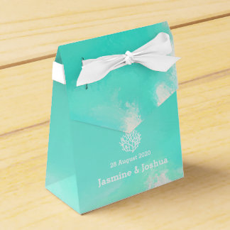 Aqua  watercolor  beach  coral reef wedding favour boxes