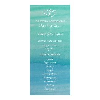 Aqua watercolor beach wedding ceremony program rack card