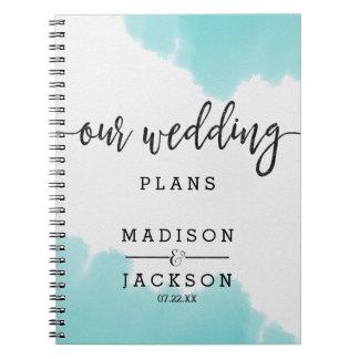 Aqua Watercolor Brush Strokes Wedding Planner Spiral Notebook