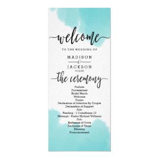 Aqua Watercolor Brush Strokes Wedding Program