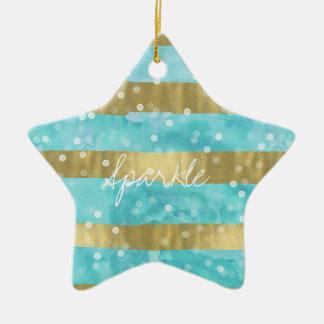 Aqua Watercolor Gold Stripes Bokeh Sparkle Ceramic Star Decoration