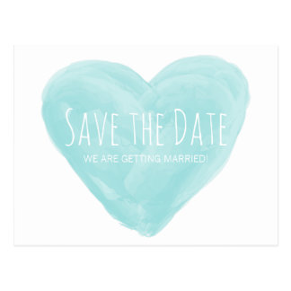 Aqua Watercolor Heart Save the Date Postcard