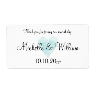 Aqua watercolor heart wedding water bottle labels