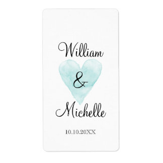 Aqua watercolor heart wedding wine bottle labels