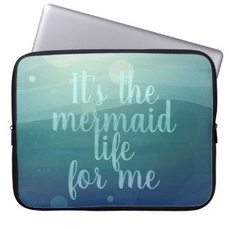 Aqua Watercolor Mermaid Quote Laptop Sleeve