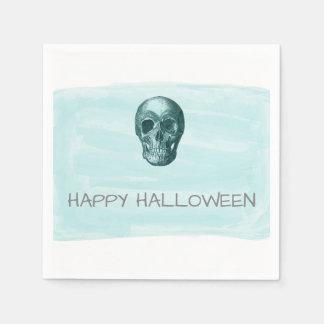Aqua Watercolor Skull Halloween Paper Napkins