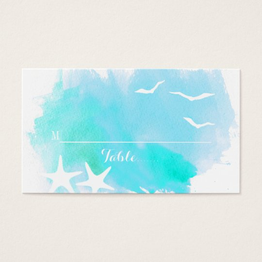 Aqua watercolor, starfish beach wedding place card