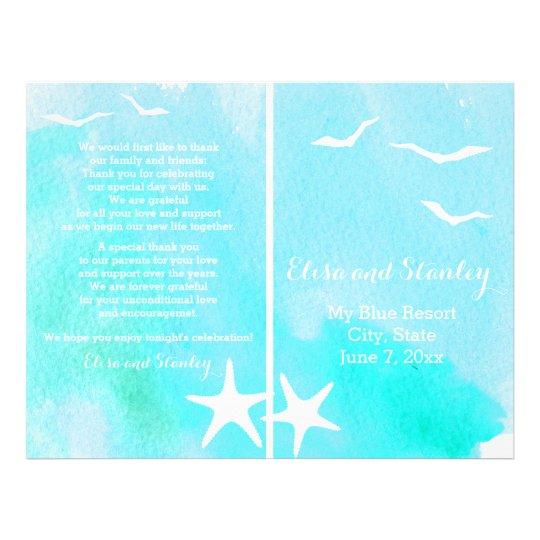 Aqua watercolor, starfish beach wedding program flyer