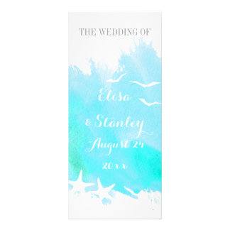 Aqua watercolor, starfish beach wedding program full colour rack card