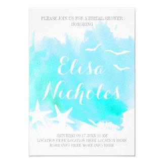 Aqua watercolor, starfish wedding bridal shower card