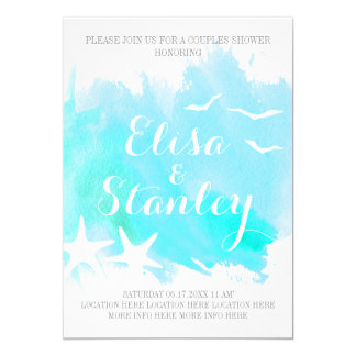 Aqua watercolor, starfish wedding couples shower card