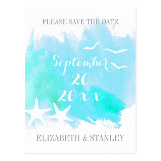 Aqua watercolor, starfish wedding Save the Date Postcard