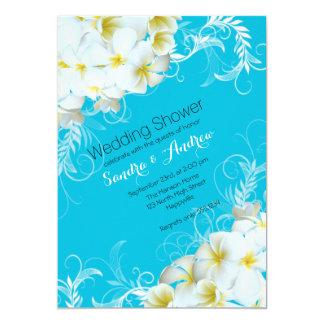 Aqua Wedding Shower Plumeria Flourish Invitations