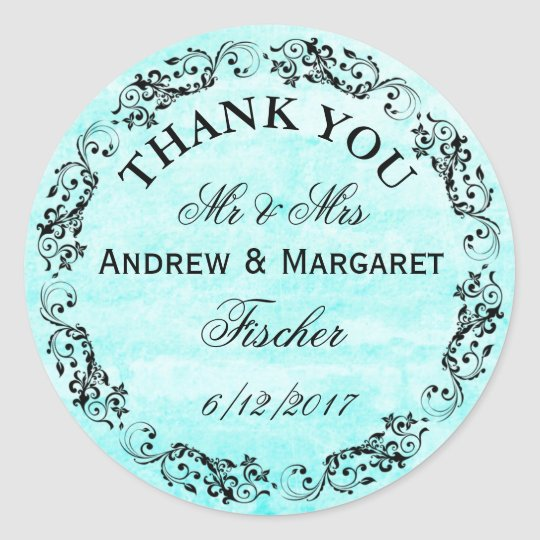 Aqua Wedding Thank You Note Stickers Personalised
