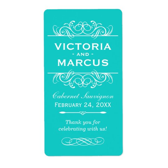 Aqua Wedding Wine Bottle Monogram Favour Labels