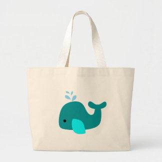Aqua Whale Large Tote Bag
