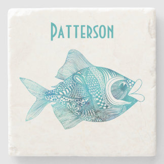 Aqua Whimsical Fish Personalized Stone Coaster