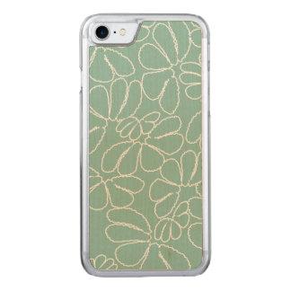 Aqua Whimsical Ikat Floral Petal Doodle Pattern Carved iPhone 8/7 Case