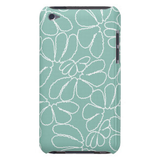 Aqua Whimsical Ikat Floral Petal Doodle Pattern iPod Touch Case-Mate Case