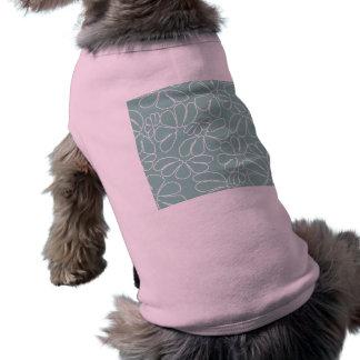 Aqua Whimsical Ikat Floral Petal Doodle Pattern Sleeveless Dog Shirt