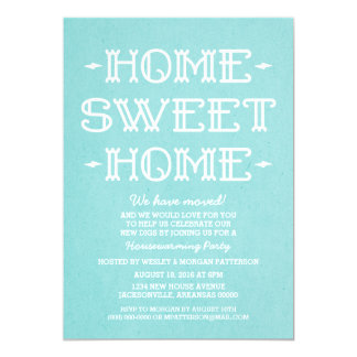 Aqua Whimsical Sweet Home Housewarming Party 13 Cm X 18 Cm Invitation Card