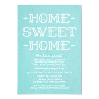 Aqua Whimsical Sweet Home Housewarming Party 13 Cm X 18 Cm Invitation Card