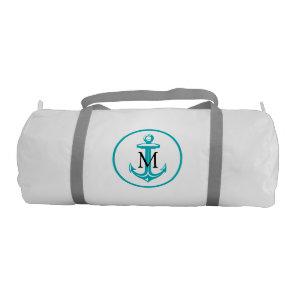 Aqua White Anchor and Monogram Gym Bag