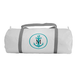Aqua White Anchor and Monogram Gym Bag
