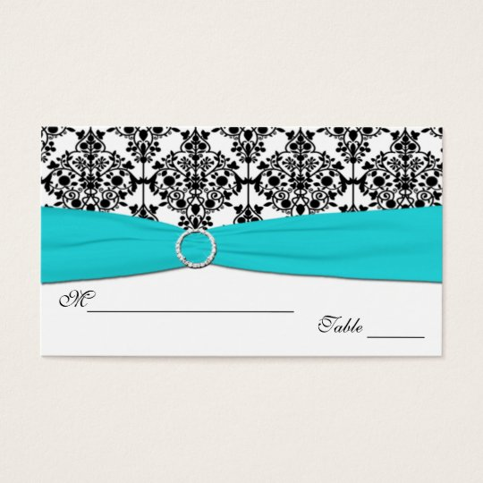 Aqua, White and Black Damask Placecards