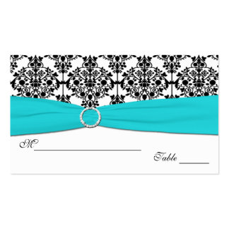 Aqua, White and Black Damask Placecards Business Cards