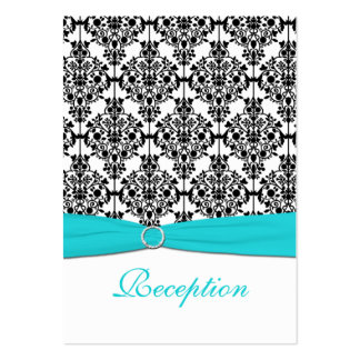 Aqua, White and Black Damask Reception Card Business Cards