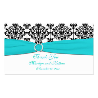Aqua, White and Black Damask Wedding Favor Tag Business Card Template