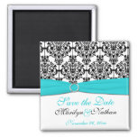 Aqua, White, and Black Damask Wedding Favour Square Magnet