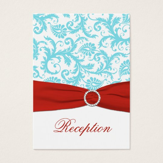 Aqua, White, and Red Damask Enclosure Card