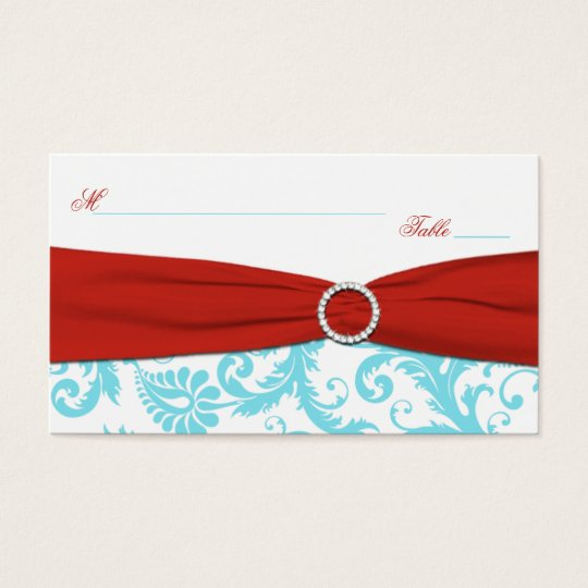 Aqua, White, and Red Damask Placecards Business Card