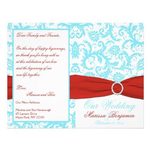 Aqua, White, and Red Damask Wedding Program Personalized Flyer