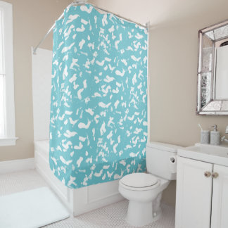 Aqua White Animal Print Abstract Shower Curtain