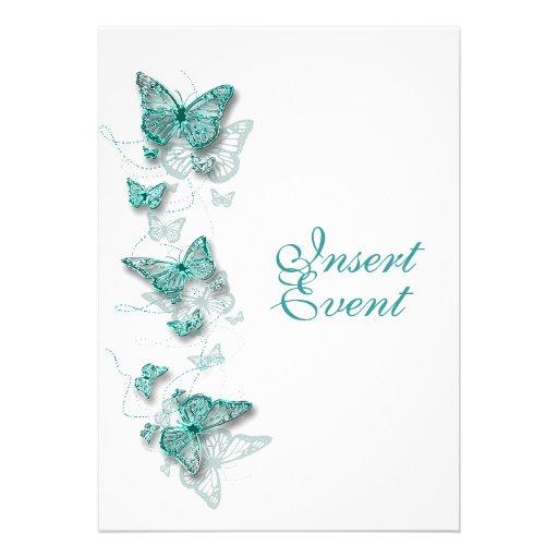 aqua white birthday engagement wedding personalized invitation