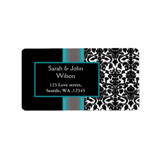 Aqua White Black Damask Wedding Invitations Address Label