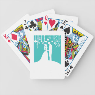 Aqua & White Bride and Groom Wedding Silhouettes Bicycle Playing Cards