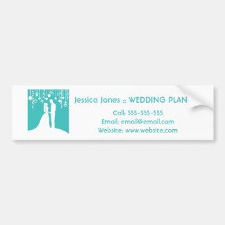 Aqua & White Bride and Groom Wedding Silhouettes Car Bumper Sticker