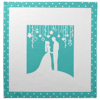 Aqua & White Bride and Groom Wedding Silhouettes Napkin